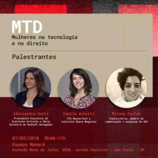 [07/03/18] Mulheres na Tecnologia e no Direito • https://bit.ly/2RkdOED